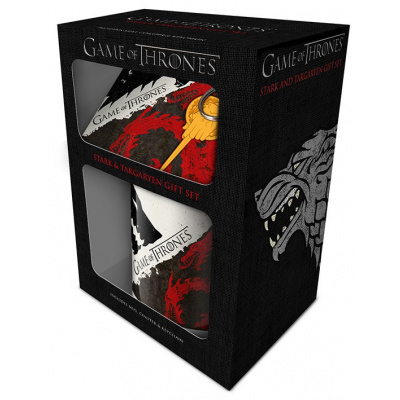 Game of Thrones (Stark and Targaryen) Mug, Coaster and Keychain Set