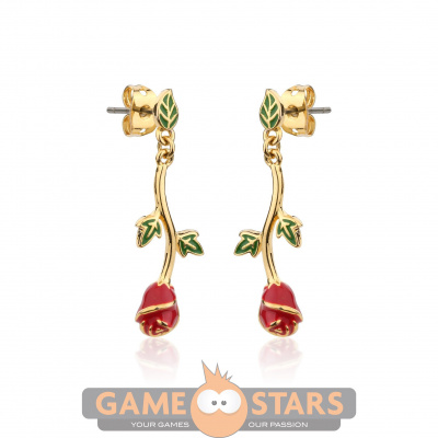 Disney Beauty and the Beast Rose Drop Earrings (Yellow Gold)