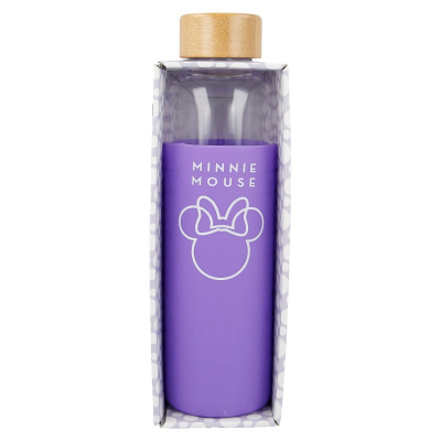 GLASS BOTTLE WITH SILICONE COVER 585 ML MINNIE