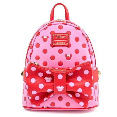 LoungeFly MINNIE MOUSE DOTS AOP BOW FANNY PACK MINI BACKPACK