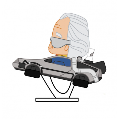 Back to the Future: Doc Brown in Delorean Pokis Figure