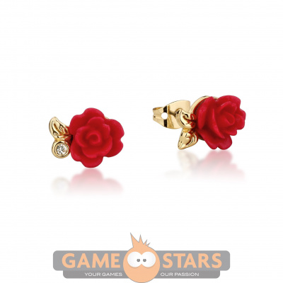 Disney Beauty and the Beast Enchanted Rose Stud Earrings (Yellow Gold)