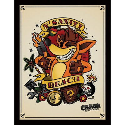 Crash Bandicoot Framed Print - Team Racing N.Sanity Beach (30x40cm)