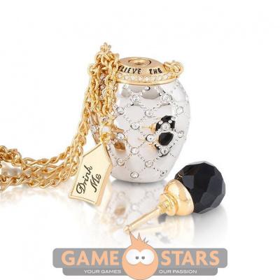 Disney Alice in Wonderland Potion Bottle Necklace (Yellow & White Gold)