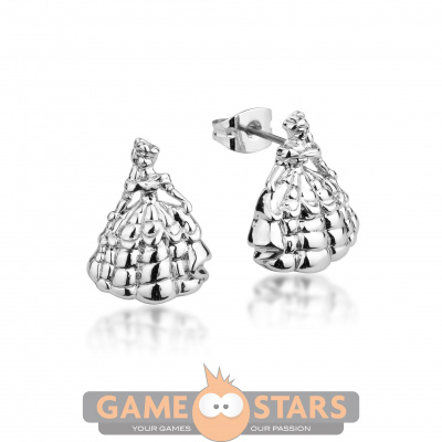 Disney Beauty and the Beast Princess Belle Stud Earrings (White Gold)