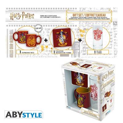 HARRY POTTER - Pack Glass 29cl + Coaster + Mini Mug Gryffindor