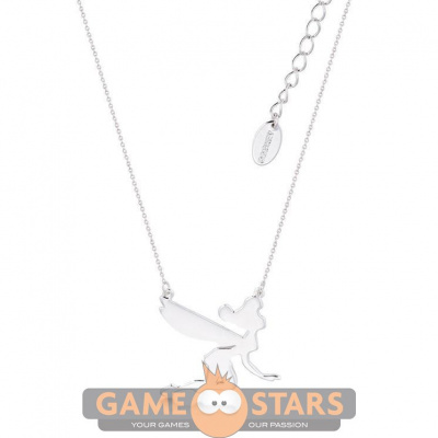 Disney Tinker Bell Silhouette Necklace (White Gold)