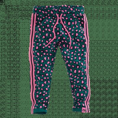 Z8 girls Roos jogpants Bottle green/pink print all over leopard