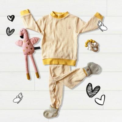 Foto van Feetje pyjama wafel Okergeel Baby