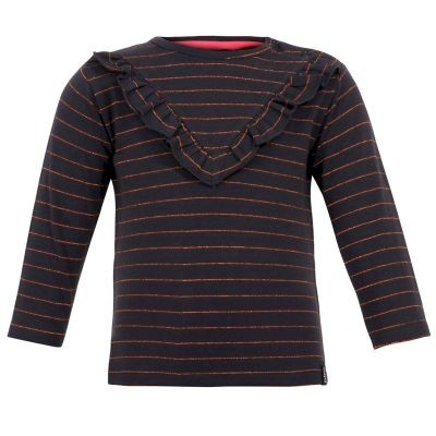 Beebielove girls Longsleeve stripe antraciet
