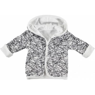 Bess newborn cardigan reverseble dots white