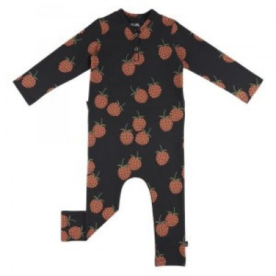 CarlijnQ baby Blackberry Jumpsuite Antraciet/All over print berry