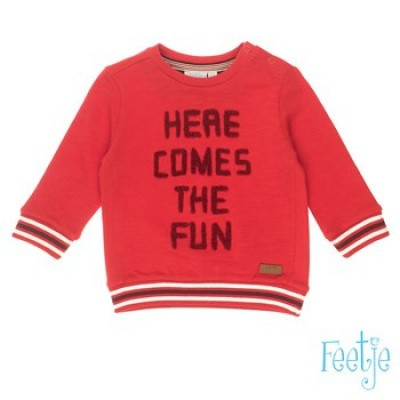 Feetje baby boy Sweater Here Comes - Good Fellows Rood