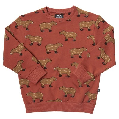 CarlijnQ boys Capibara-Sweater red all over print Capibara