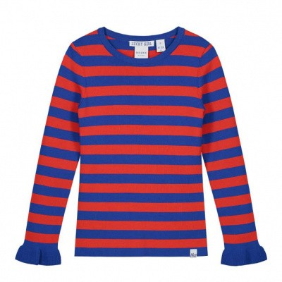 Nik & Nik girls Jolie Stripe Pullover River Blue/Bright Red Stripe