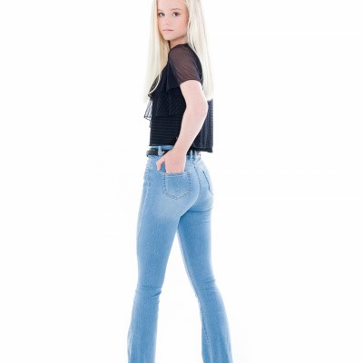 Foto van Frankie & Liberty girls flared jeans light blue denim