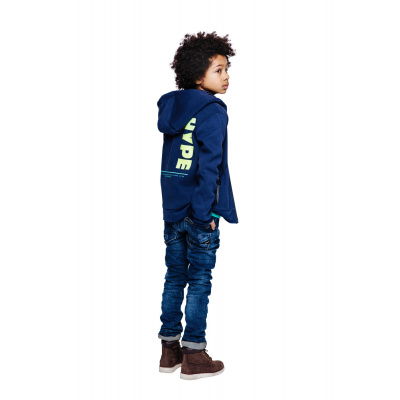 Indian blue jeans hooded zipper hype navy