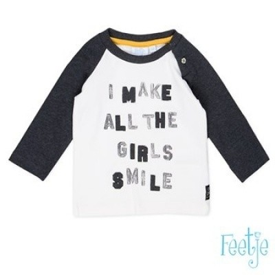 Foto van Feetje baby boys longsleeve all girls smile offwhite