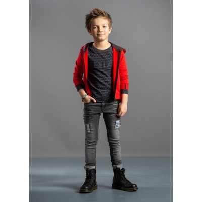 Quapi boys Tay Longsleeve Dark Grey Geomatric
