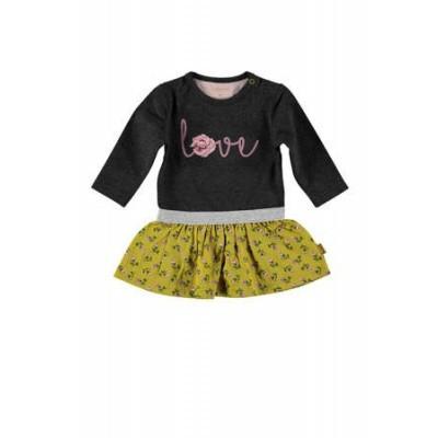 Bess newborn girls Dress Love Anthracite