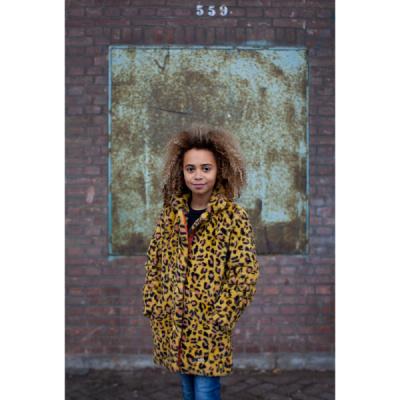 Foto van Moodstreet meiden winterjas okergeel leopard