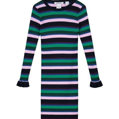 Nik & Nik Jolie Dress Rosie Dark Bleu/Lavender/Green stripes