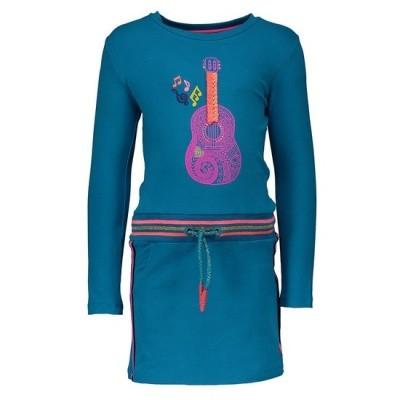 Foto van Kidz-art girls dress plain/rib waist guitar Sea blue