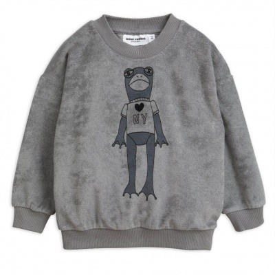 Mini Rodini sweater Frog sp terry grey