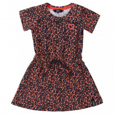 Beebielove girls all over print dress leopard Coral