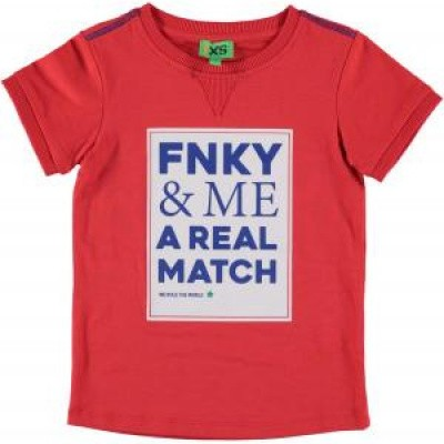 Funky xs text tee bright red