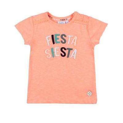 Feetje Girls T-Shirt Fiesta Siesta Botanic Blush Neon Koraal