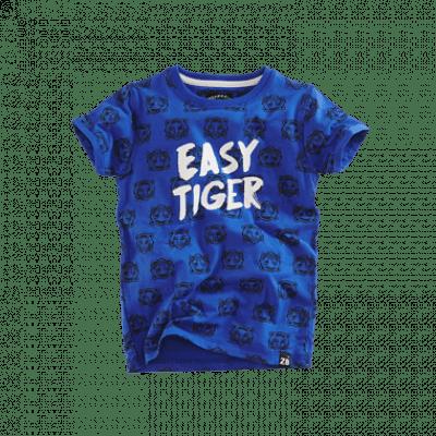 Z8 baby boys Lucas korte mouw Brilliant blue/Midnight navy all over print tijger