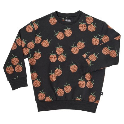 Foto van CarlijnQ girls Blackberry-Sweater antraciet all over print Blackberry