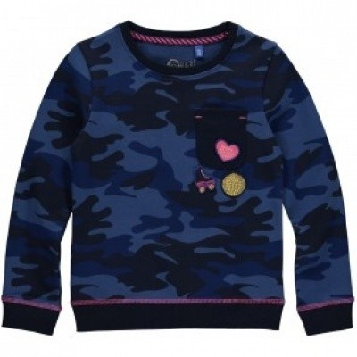 Quapi girls sweater Loes Dark Blue Camouflage