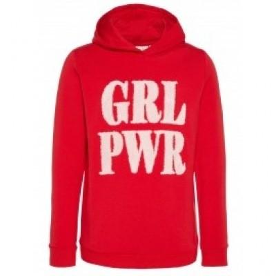 Name it girls hoody red girlpower