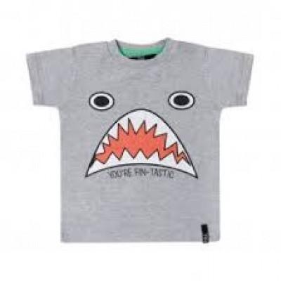 Foto van Beebielove baby T-shirt grey shark print