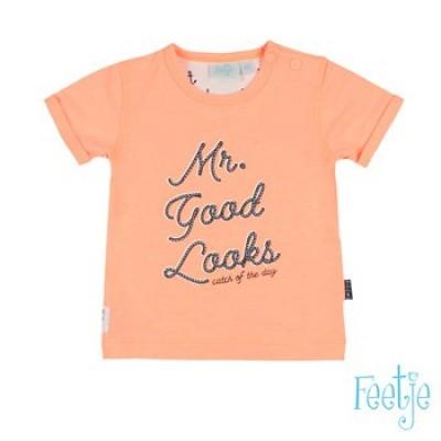 Foto van Feetje newborn boys T-shirt Neon Oranje Mr Good Looks