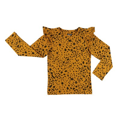 CarlijnQ girls Spotted animal longsleeve mosterdgeel