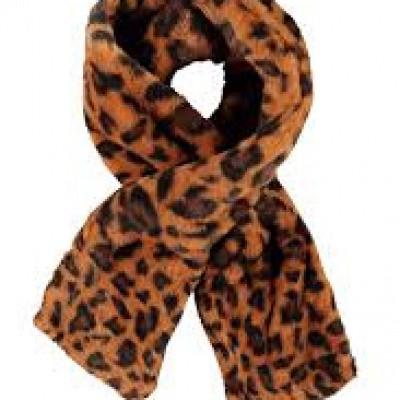 Flo sjaal leopard fluffy cognac