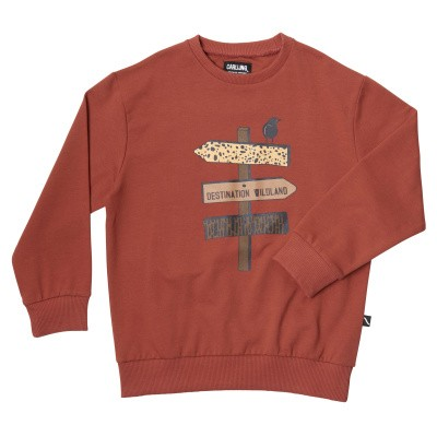 CarlijnQ boys Destination-Sweater Red Print on Front