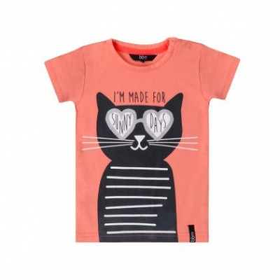 Beebielove girls t-shirt cat Coral