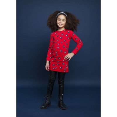 Foto van Moodstreet girls dress red leopard