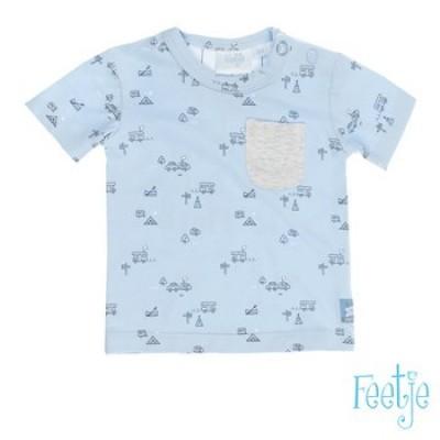 Feetje newborn boy t-shirt blauw happy camper