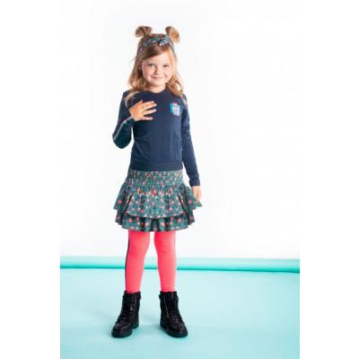 Foto van B.Nosy Meisjes jurk met AOP rok - Oxford blauw / flaw spots