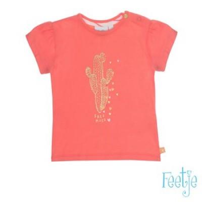 Foto van Feetje girls T-shirt La isla Koraal met gouden cactus