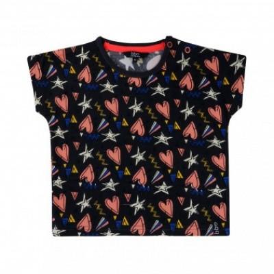 Beebielove girls t-shirt all over print hearts/stars black