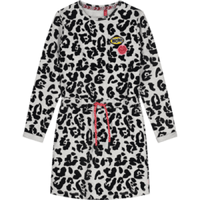 Quapi Adele dress dark grey leopard