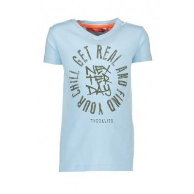 Tygo & Vtio boys T-shirt Get Real 105 Light Blue