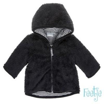 Feetje Newborn boy jasje black (fake fur)