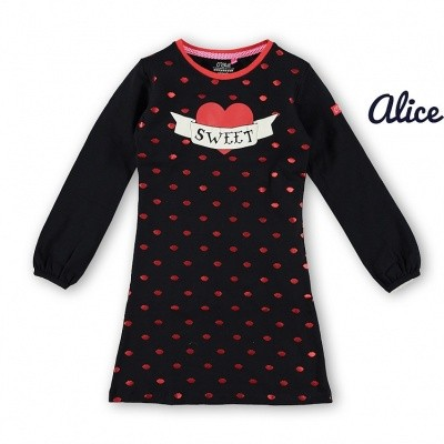 O chill Alice dress dark navy dress allover foil lippen